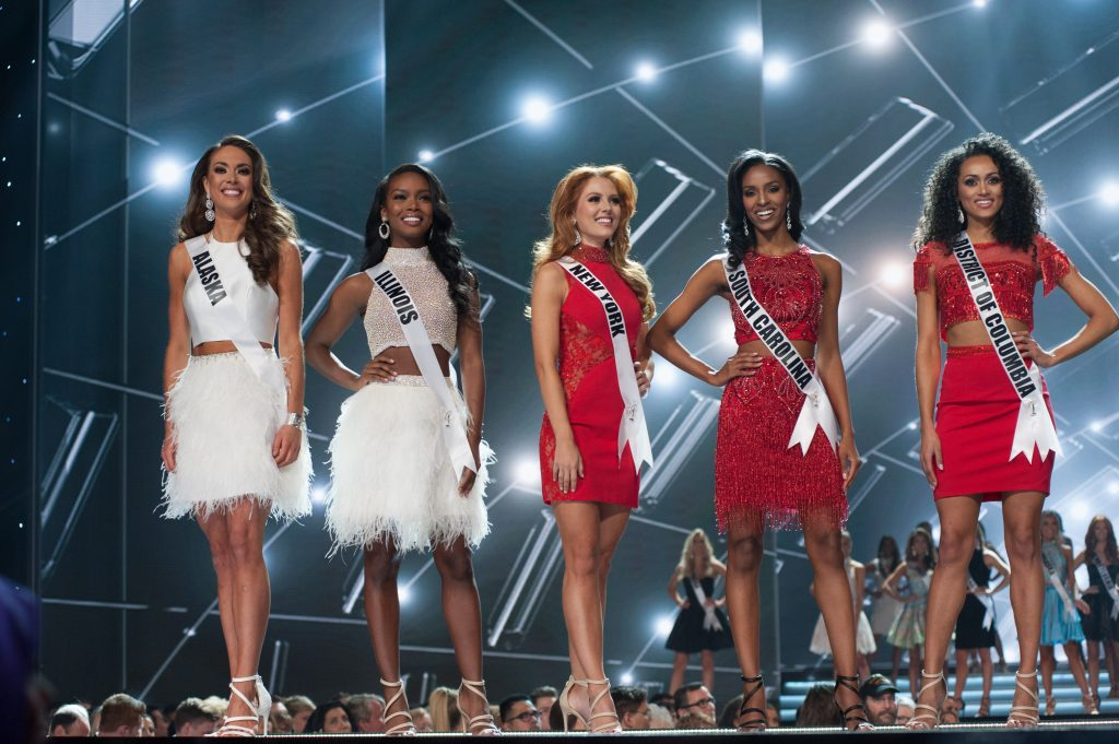 Alyssa London, Miss Alaska USA 2017; Whitney Wandland, Miss Illinois USA 2017; Hannah Lopa, Miss New York USA 2017; Megan Gordon, Miss South Carolina USA 2017; and Kára McCullough, Miss District Of Columbia USA 2017; are announced as a top 10 finalists in fashion by Sherri Hill during The MISS USA® Competition at the Mandalay Bay Resort and Casino on Sunday, May 14. The Miss USA contestants have spent the last few weeks touring, filming, rehearsing and preparing to compete for the Miss USA crown airing on FOX at 8:00 PM ET live/PT tape-delayed on Sunday, May 14 in Las Vegas, Nevada. HO/The Miss Universe Organization