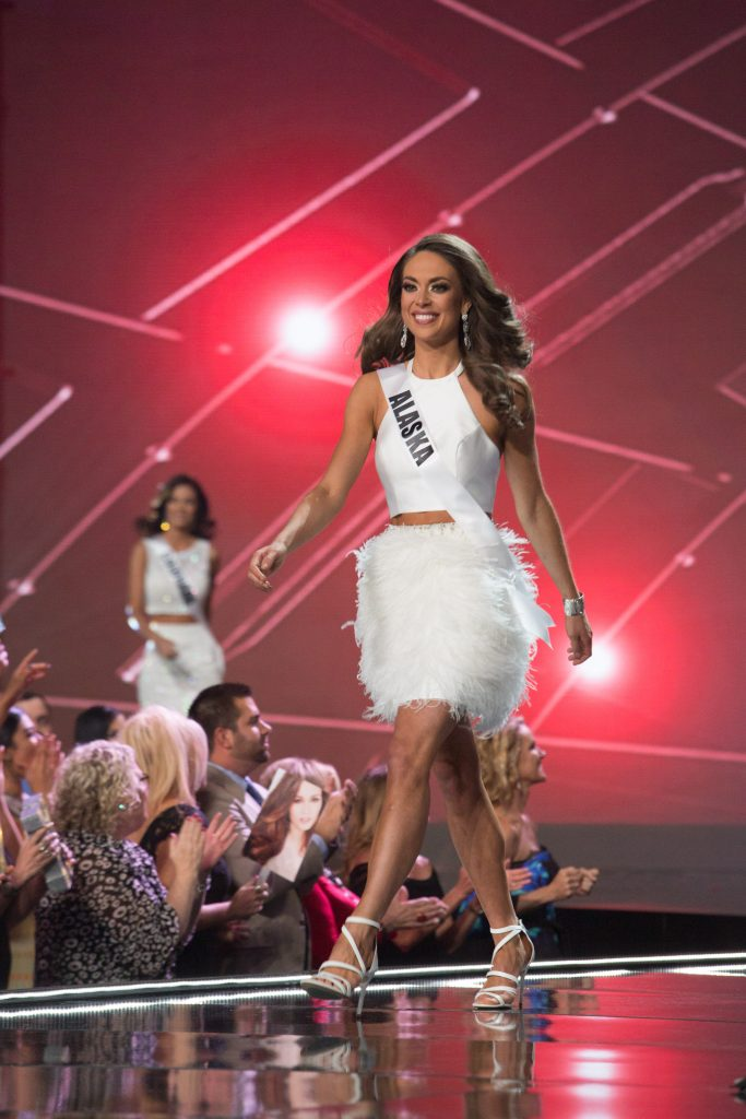 Alyssa London, Miss Alaska USA 2017, on stage in fashion by Sherri Hill during the opening of The MISS USA® Competition at the Mandalay Bay Resort and Casino on Sunday, May 14. The Miss USA contestants have spent the last few weeks touring, filming, rehearsing and preparing to compete for the Miss USA crown airing on FOX at 8:00 PM ET live/PT tape-delayed on Sunday, May 14 in Las Vegas, Nevada. HO/The Miss Universe Organization